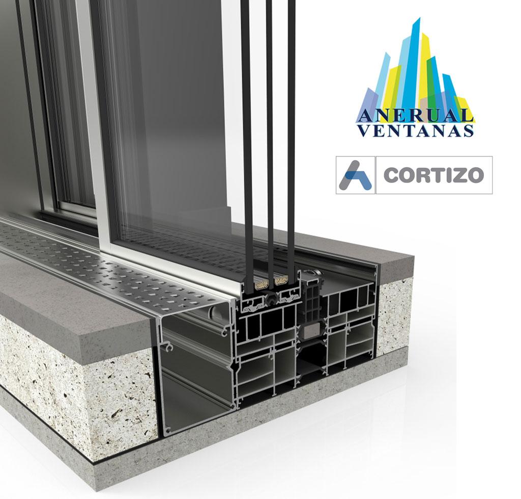 Ventana de aluminio Cor Vision Plus Corredera con Rotura de Puente Térmico de Cortizo